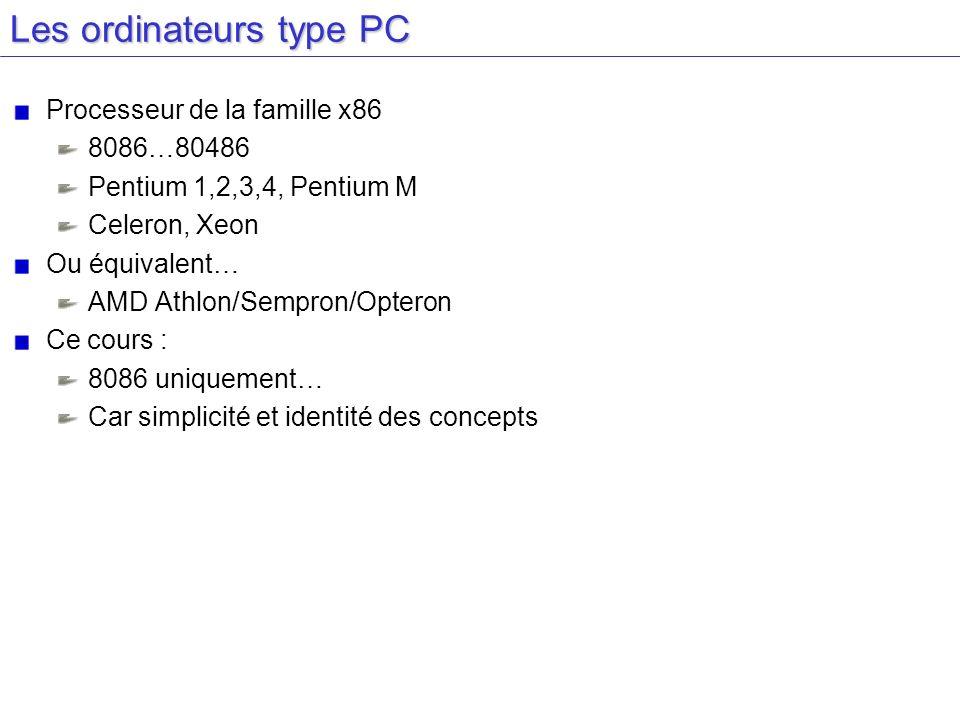 Les ordinateurs type PC Processeur de la famille x86 8086…80486 Pentium 1,2,3,4, Pentium M Celeron, Xeon Ou équivalent… AMD Athlon/Sempron/Opteron Ce