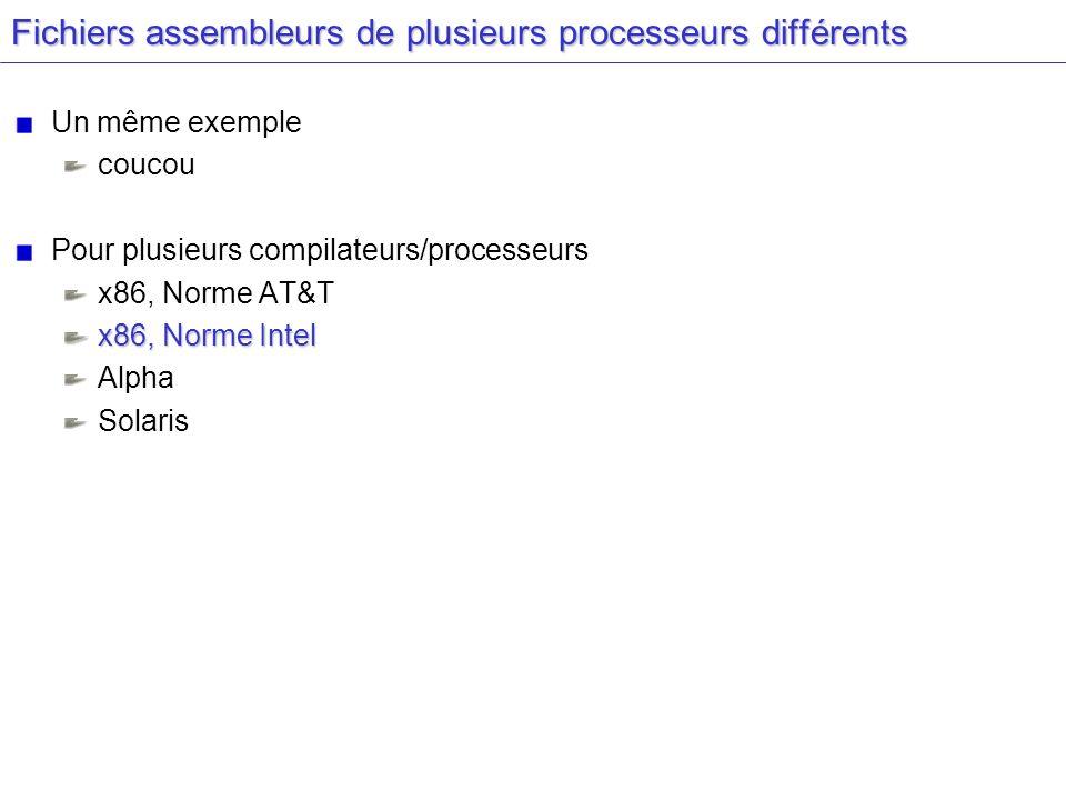 Coucou Langage C coucou.c : #include int main(int argc, char** argv) { printf( Coucou\n ); } Compilation : gcc –b -S coucou.c Source C Assembleur gcc -S