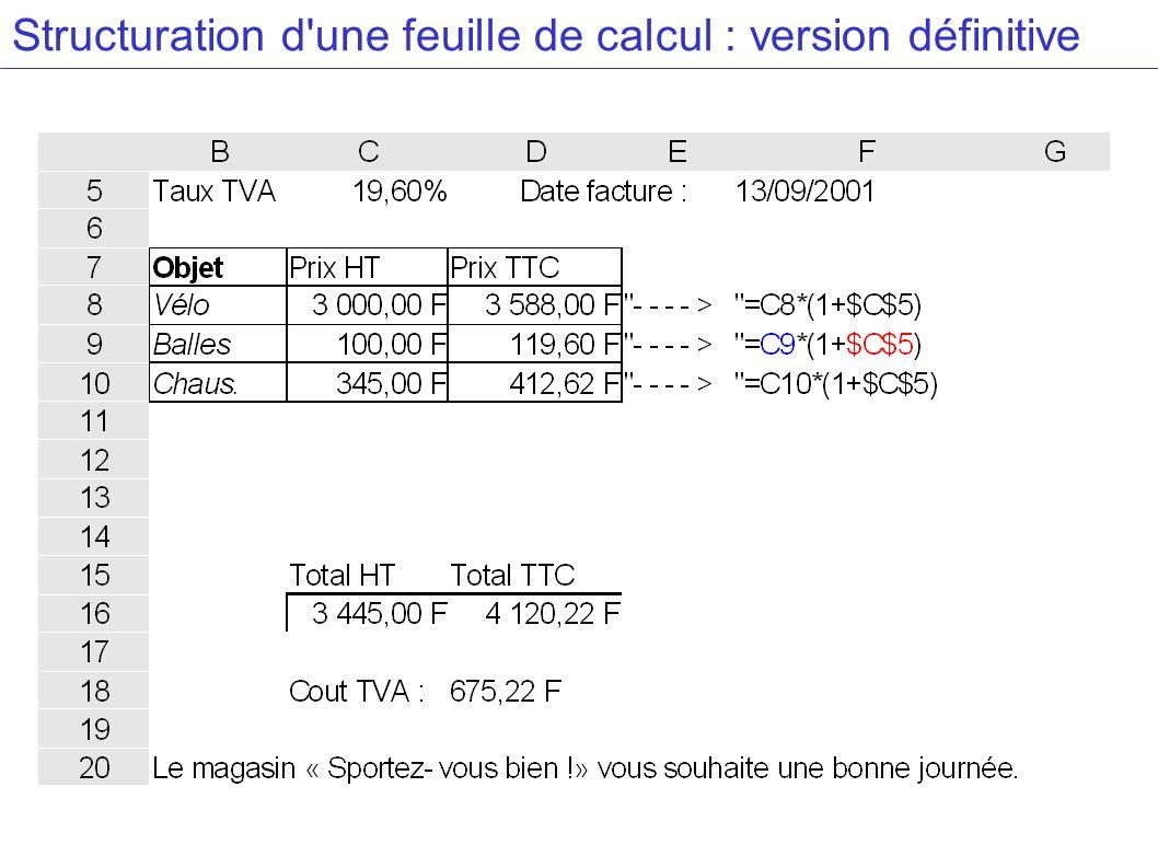 Structuration d'une feuille de calcul : version définitive