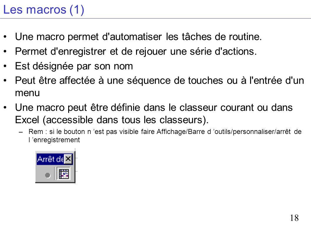 18 Les macros (1) Une macro permet d'automatiser les tâches de routine. Permet d'enregistrer et de rejouer une série d'actions. Est désignée par son n