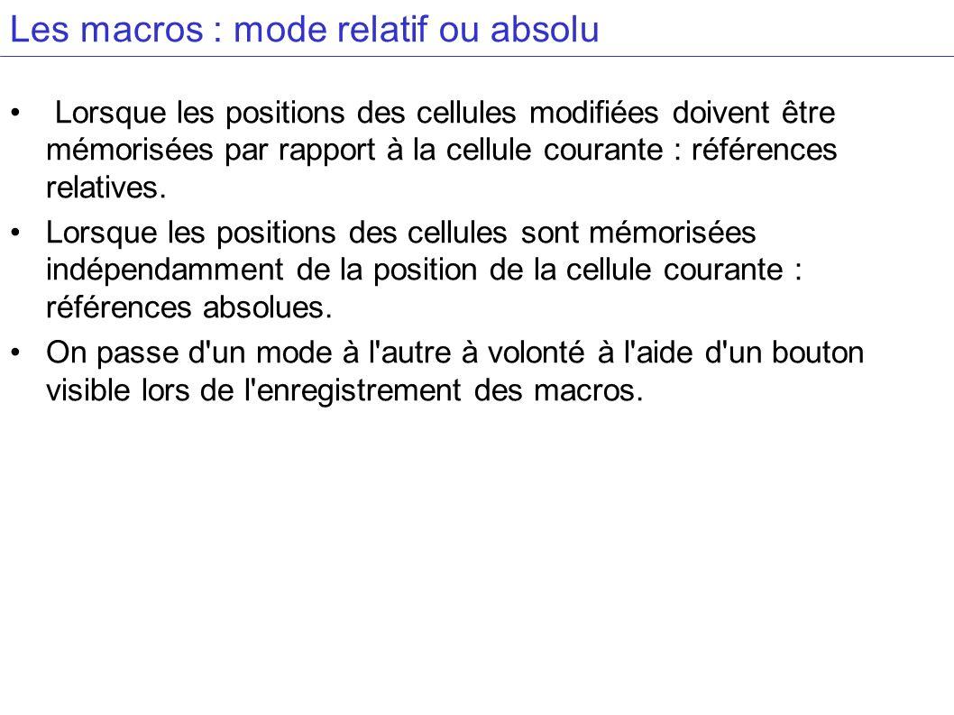 Les macros : mode relatif ou absolu Lorsque les positions des cellules modifiées doivent être mémorisées par rapport à la cellule courante : référence