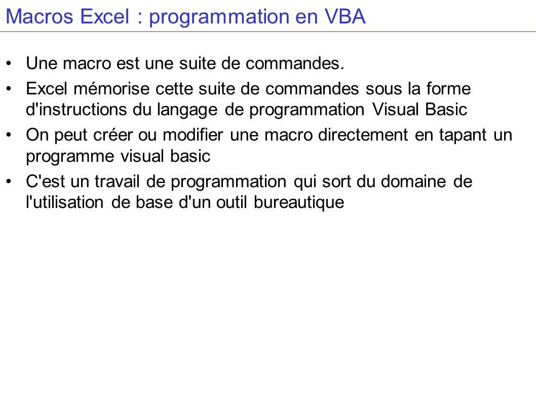 Macros Excel : programmation en VBA Une macro est une suite de commandes. Excel mémorise cette suite de commandes sous la forme d'instructions du lang