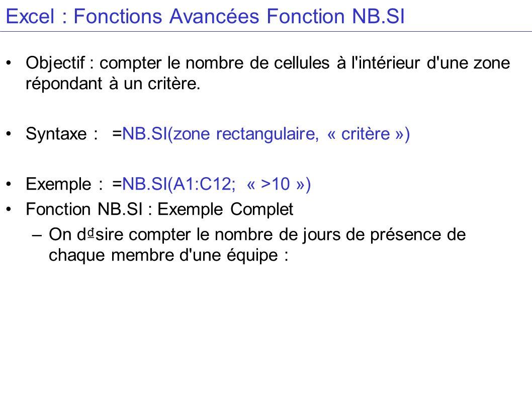 Excel : Fonctions Avancées Fonction NB.SI Objectif : compter le nombre de cellules à l'intérieur d'une zone répondant à un critère. Syntaxe :=NB.SI(zo