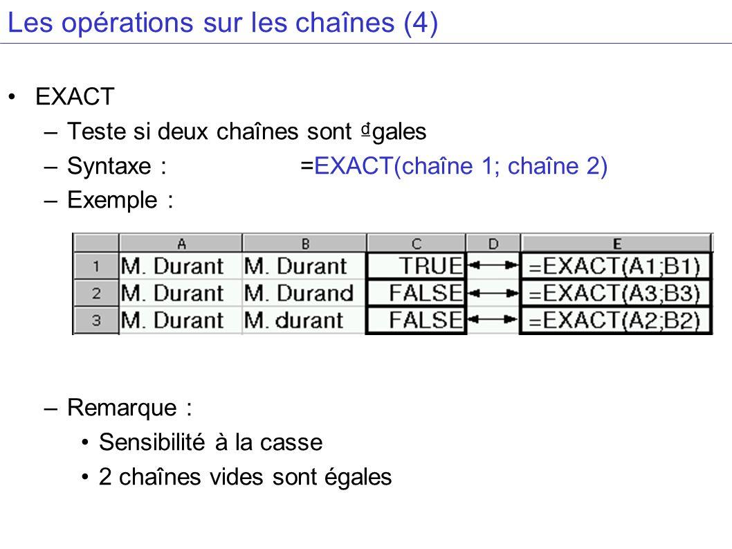 Les opérations sur les chaînes (4) EXACT –Teste si deux chaînes sont gales –Syntaxe : =EXACT(chaîne 1; chaîne 2) –Exemple : –Remarque : Sensibilité à