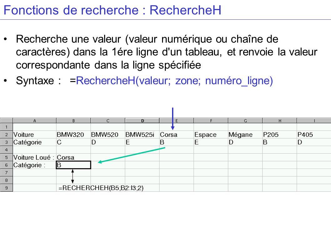 Fonctions de recherche : RechercheH Recherche une valeur (valeur numérique ou chaîne de caractères) dans la 1ére ligne d un tableau, et renvoie la valeur correspondante dans la ligne spécifiée Syntaxe : =RechercheH(valeur; zone; numéro_ligne)