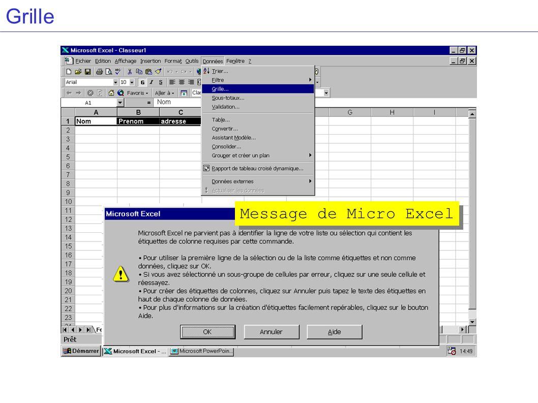Grille Message de Micro Excel