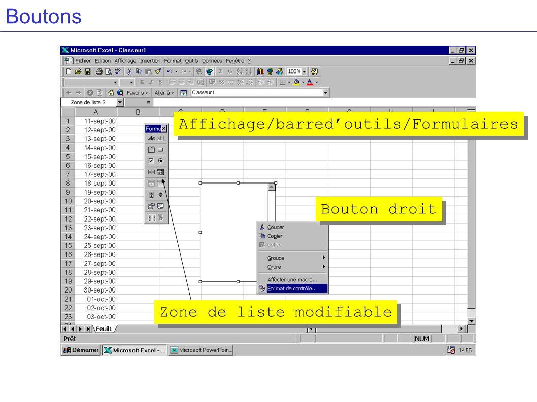 Boutons Affichage/barredoutils/Formulaires Zone de liste modifiable Bouton droit
