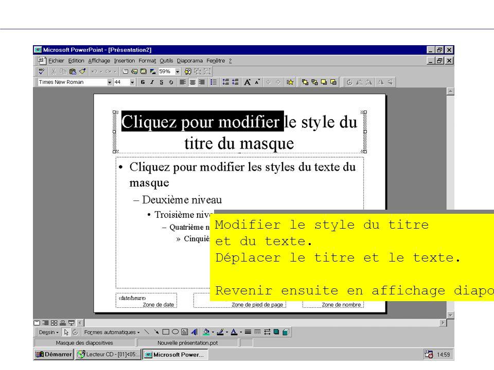 Modifier le style du titre et du texte. Déplacer le titre et le texte. Revenir ensuite en affichage diapo Modifier le style du titre et du texte. Dépl
