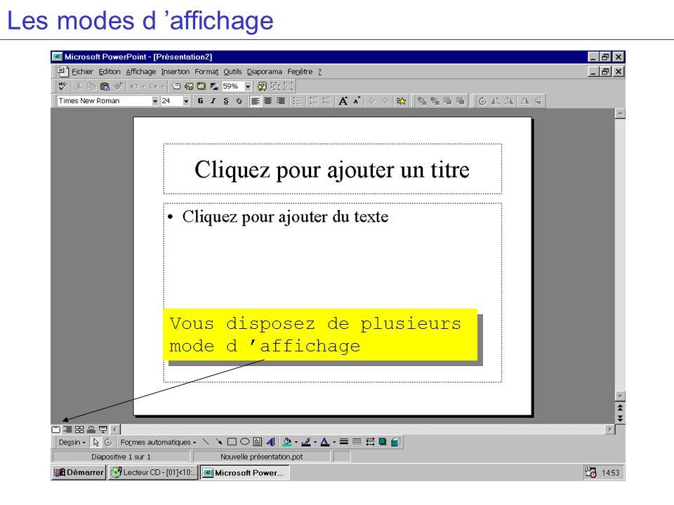 Les modes d affichage Vous disposez de plusieurs mode d affichage
