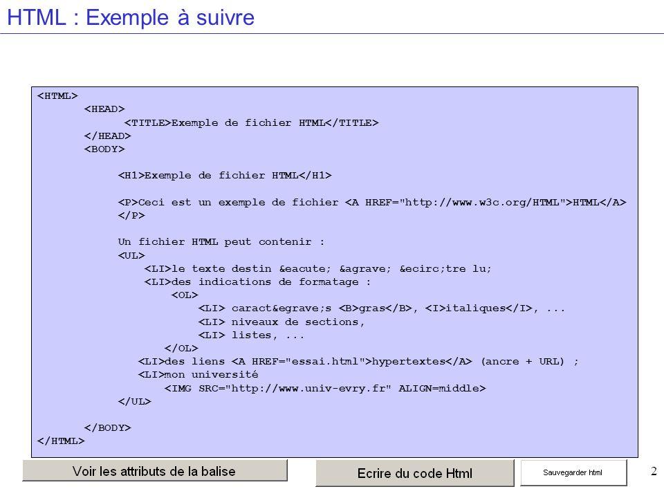 13 HTML : Exemple à ne pas suivre Exemple de fichier HTML Ceci est un exemple de fichier HTML Un fichier HTML peut contenir : le texte destin é à être lu; des indications de formatage : caractès gras, italiques,...