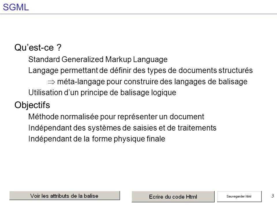 44 Les liens externes texte ou lien vers l image qui matérialise le lien TARGET= cadre Permet de spécifier un nom de fenêtre pour l affichage.
