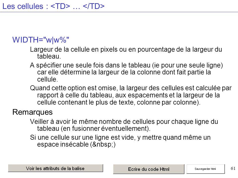 61 Les cellules : … WIDTH= w|w% Largeur de la cellule en pixels ou en pourcentage de la largeur du tableau.