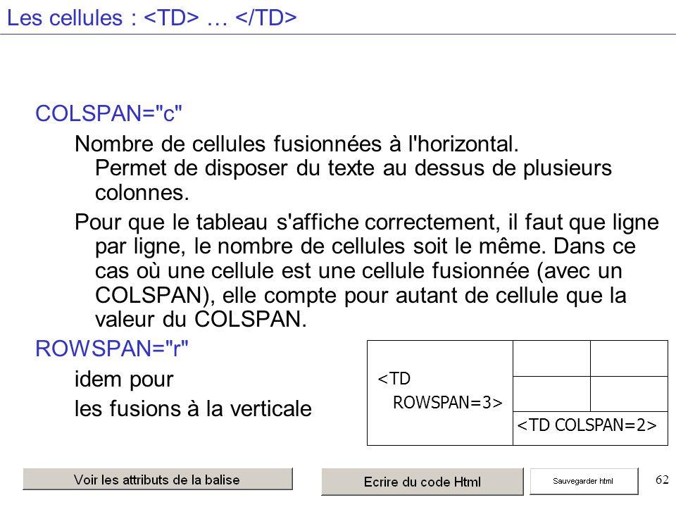 62 Les cellules : … COLSPAN= c Nombre de cellules fusionnées à l horizontal.