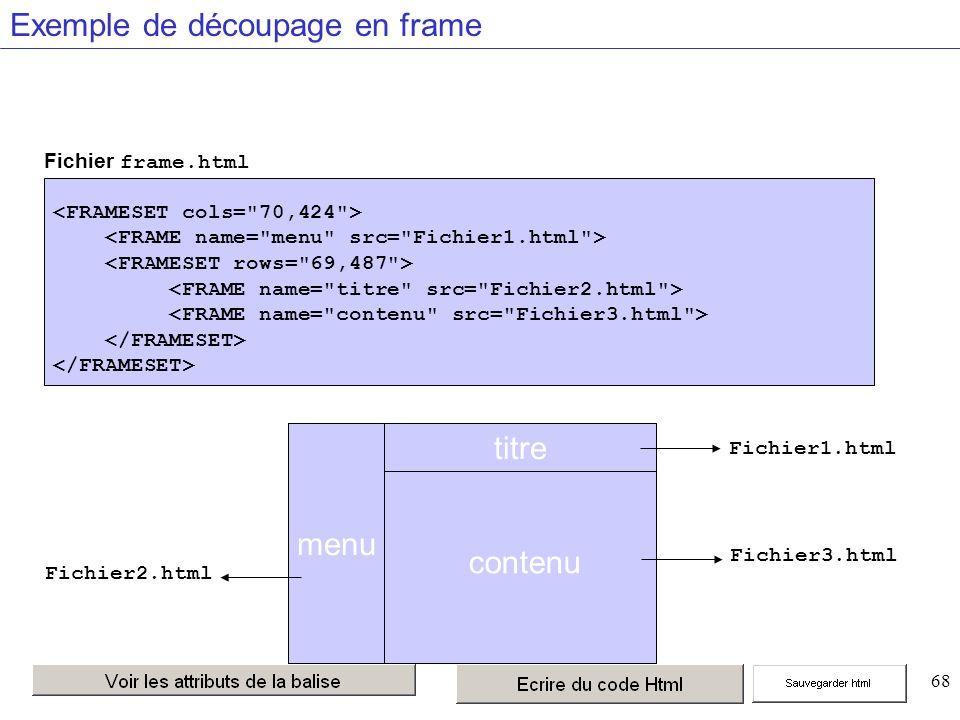 68 Exemple de découpage en frame menu titre Fichier3.html Fichier2.html Fichier frame.html Fichier1.html contenu