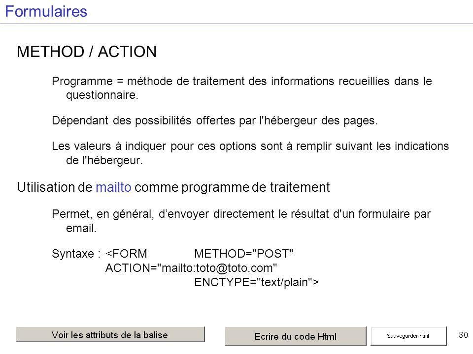 80 Formulaires METHOD / ACTION Programme = méthode de traitement des informations recueillies dans le questionnaire.