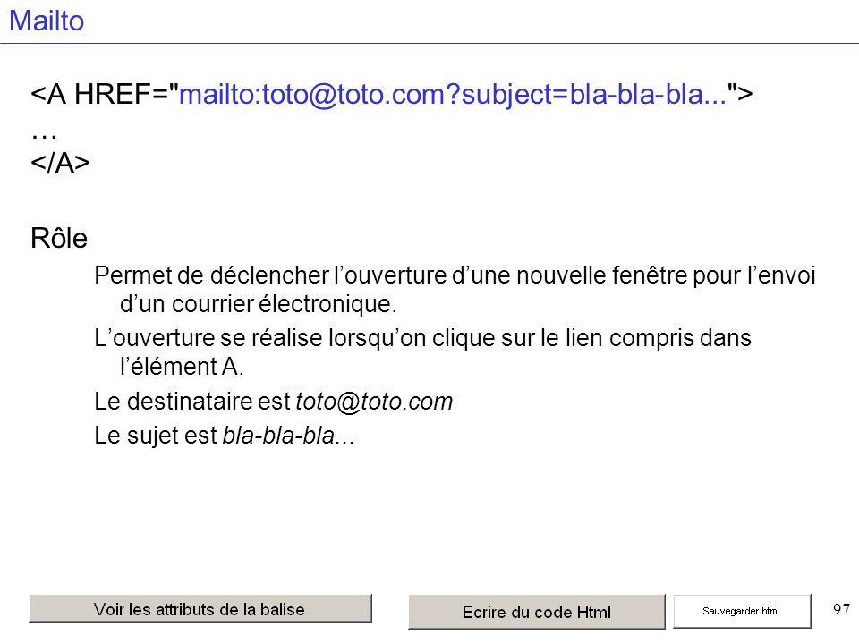 97 Mailto … Rôle Permet de déclencher louverture dune nouvelle fenêtre pour lenvoi dun courrier électronique.