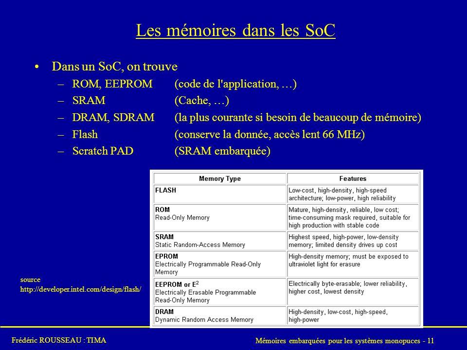 Mémoires embarquées pour les systèmes monopuces - 11 Frédéric ROUSSEAU : TIMA Les mémoires dans les SoC Dans un SoC, on trouve –ROM, EEPROM(code de l application, …) –SRAM(Cache, …) –DRAM, SDRAM(la plus courante si besoin de beaucoup de mémoire) –Flash(conserve la donnée, accès lent 66 MHz) –Scratch PAD(SRAM embarquée) source http://developer.intel.com/design/flash/