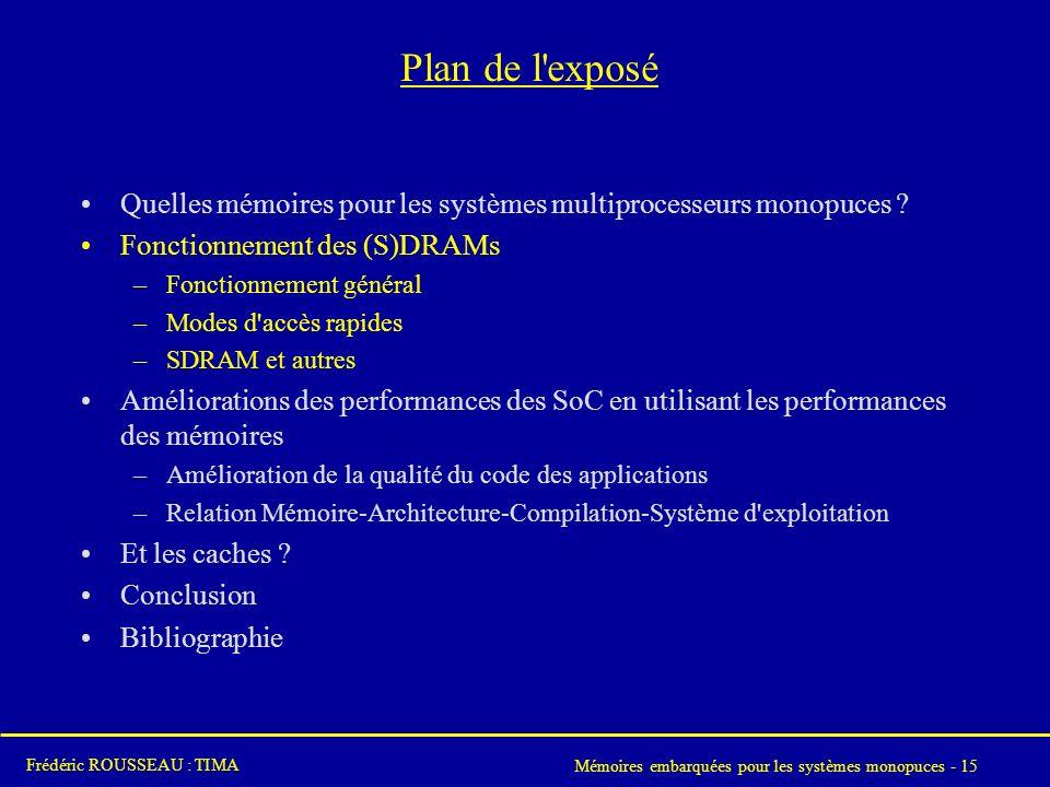 Mémoires embarquées pour les systèmes monopuces - 15 Frédéric ROUSSEAU : TIMA Plan de l exposé Quelles mémoires pour les systèmes multiprocesseurs monopuces .