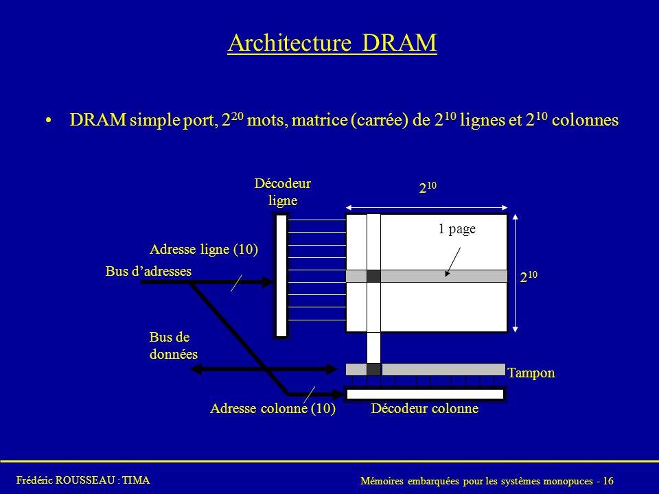 Mémoires embarquées pour les systèmes monopuces - 16 Frédéric ROUSSEAU : TIMA Architecture DRAM DRAM simple port, 2 20 mots, matrice (carrée) de 2 10 lignes et 2 10 colonnes Bus dadresses Adresse ligne (10) 2 10 Bus de données Tampon Décodeur ligne Adresse colonne (10) Décodeur colonne 1 page