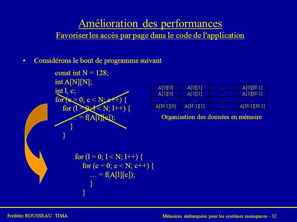 Mémoires embarquées pour les systèmes monopuces - 32 Frédéric ROUSSEAU : TIMA Amélioration des performances Favoriser les accès par page dans le code de l application Considérons le bout de programme suivant const int N = 128; int A[N][N]; int l, c; for (c = 0; c < N; c++) { for (l = 0; l < N; l++) { … = f(A[l][c]); } for (l = 0; l < N; l++) { for (c = 0; c < N; c++) { … = f(A[l][c]); } Organisation des données en mémoire