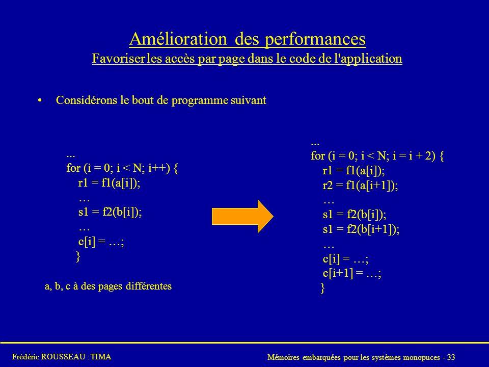 Mémoires embarquées pour les systèmes monopuces - 33 Frédéric ROUSSEAU : TIMA Amélioration des performances Favoriser les accès par page dans le code de l application Considérons le bout de programme suivant...