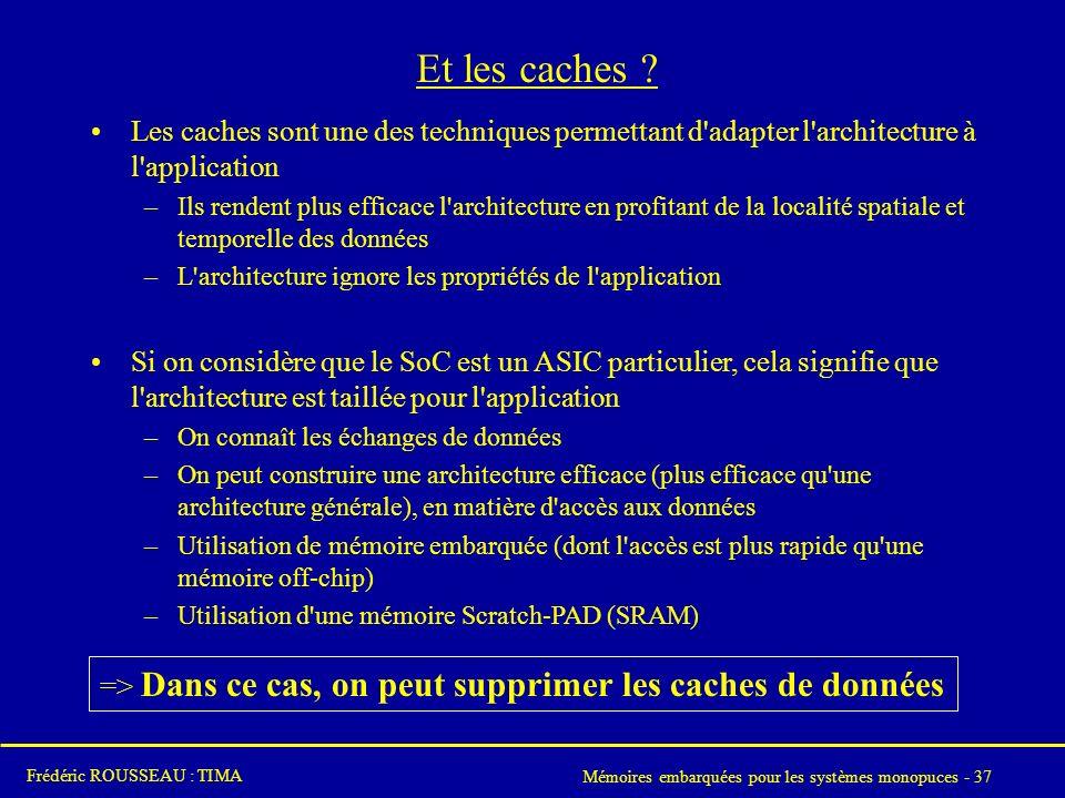 Mémoires embarquées pour les systèmes monopuces - 37 Frédéric ROUSSEAU : TIMA Et les caches .