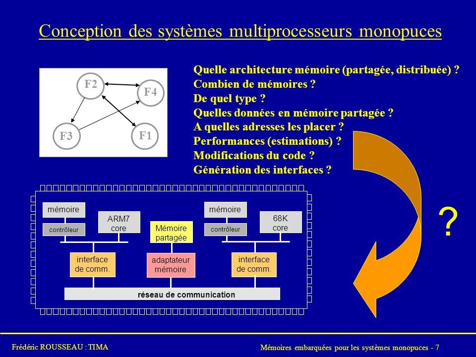 Mémoires embarquées pour les systèmes monopuces - 7 Frédéric ROUSSEAU : TIMA Conception des systèmes multiprocesseurs monopuces .