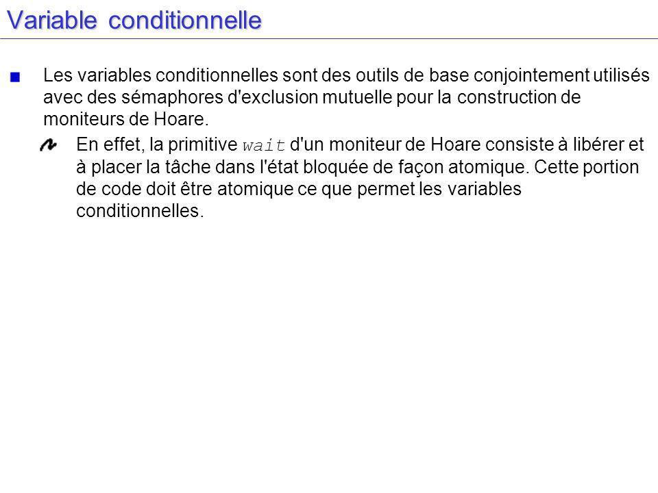 Variable conditionnelle Les variables conditionnelles sont des outils de base conjointement utilisés avec des sémaphores d exclusion mutuelle pour la construction de moniteurs de Hoare.