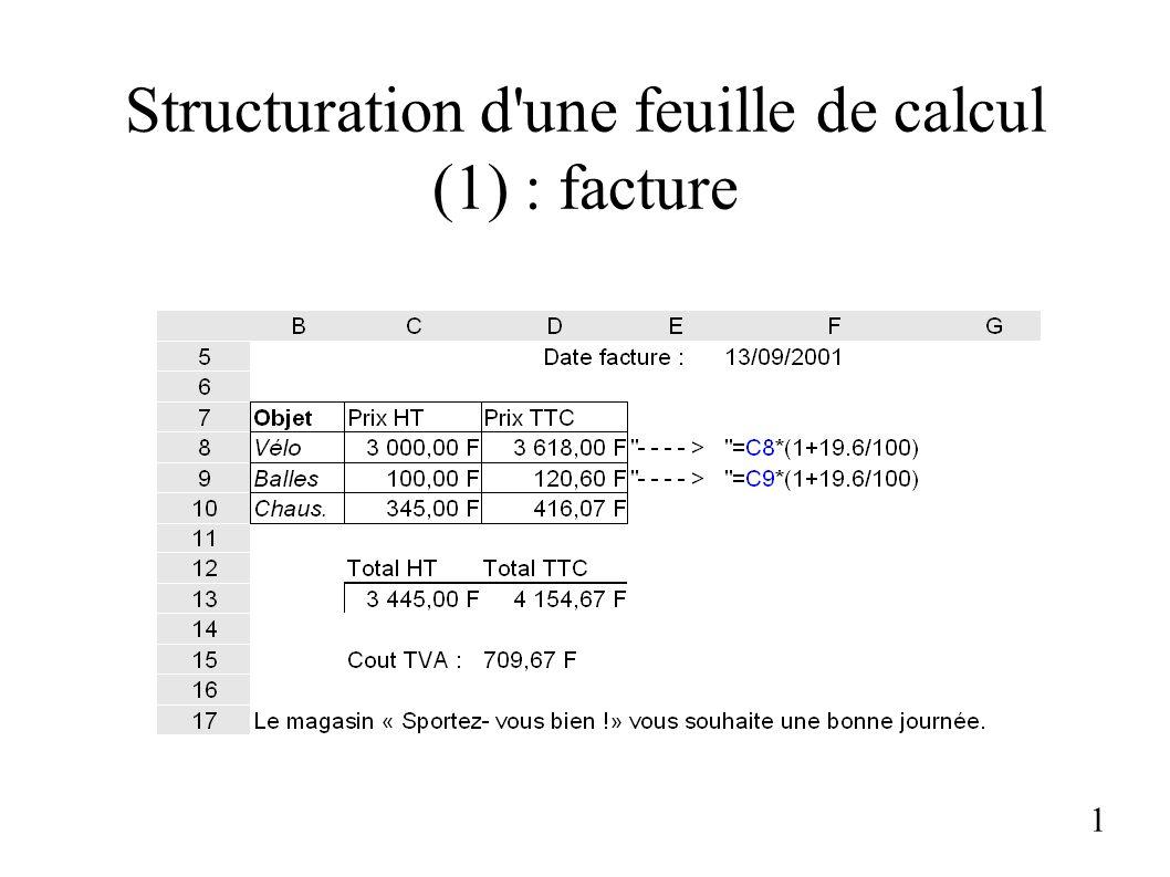 Structuration d'une feuille de calcul (1) : facture 1