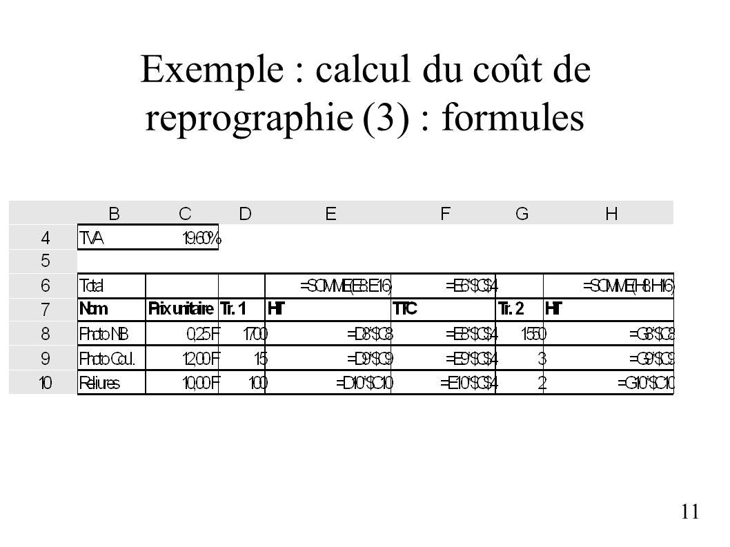 Exemple : calcul du coût de reprographie (3) : formules 11