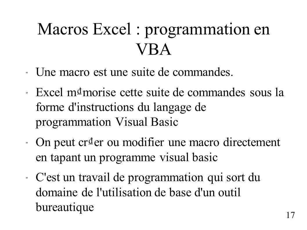 Macros Excel : programmation en VBA