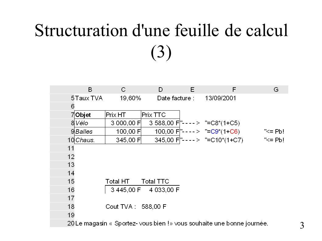 Structuration d'une feuille de calcul (3) 3
