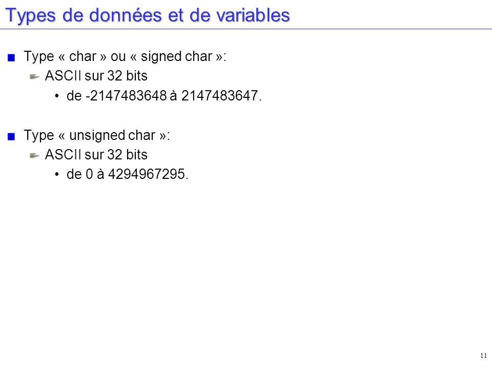 11 Types de données et de variables Type « char » ou « signed char »: ASCII sur 32 bits de -2147483648 à 2147483647. Type « unsigned char »: ASCII sur