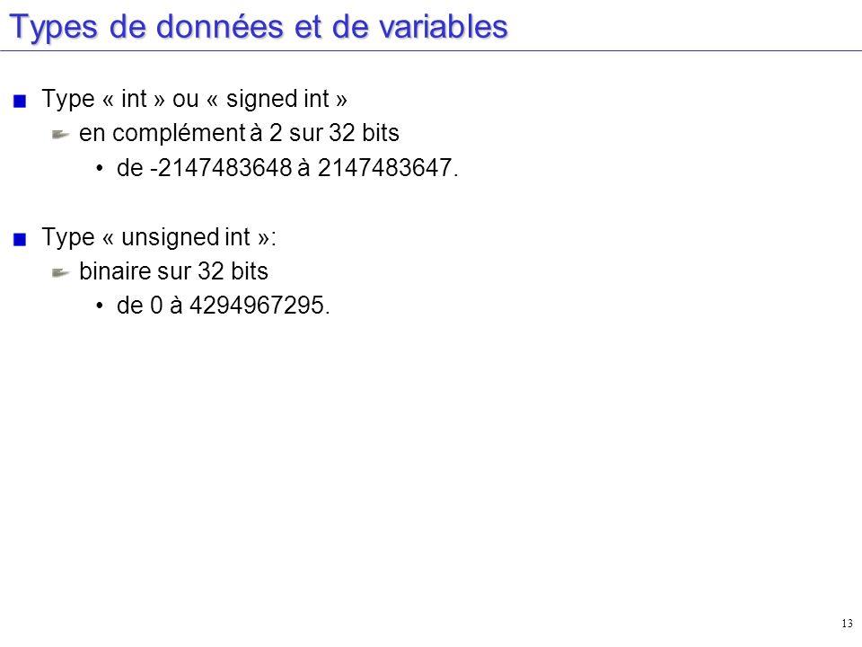 13 Types de données et de variables Type « int » ou « signed int » en complément à 2 sur 32 bits de -2147483648 à 2147483647. Type « unsigned int »: b