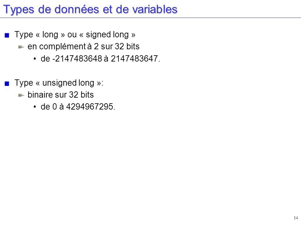 14 Types de données et de variables Type « long » ou « signed long » en complément à 2 sur 32 bits de -2147483648 à 2147483647. Type « unsigned long »