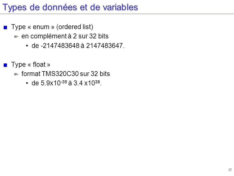 15 Types de données et de variables Type « enum » (ordered list) en complément à 2 sur 32 bits de -2147483648 à 2147483647. Type « float » format TMS3