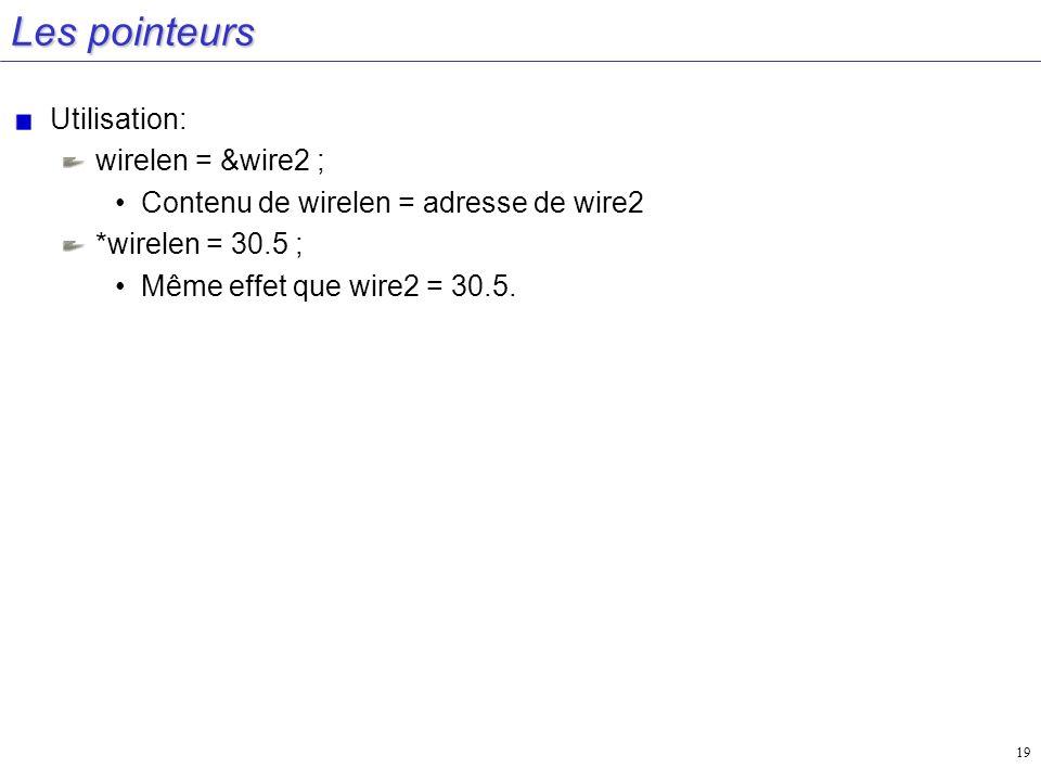 19 Les pointeurs Utilisation: wirelen = &wire2 ; Contenu de wirelen = adresse de wire2 *wirelen = 30.5 ; Même effet que wire2 = 30.5.