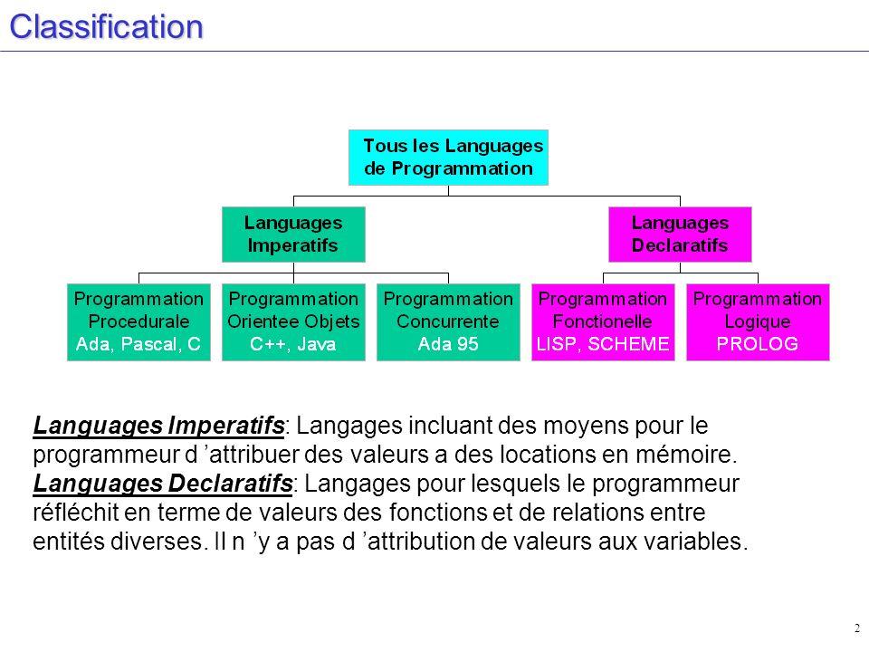 2Classification Languages Imperatifs: Langages incluant des moyens pour le programmeur d attribuer des valeurs a des locations en mémoire. Languages D