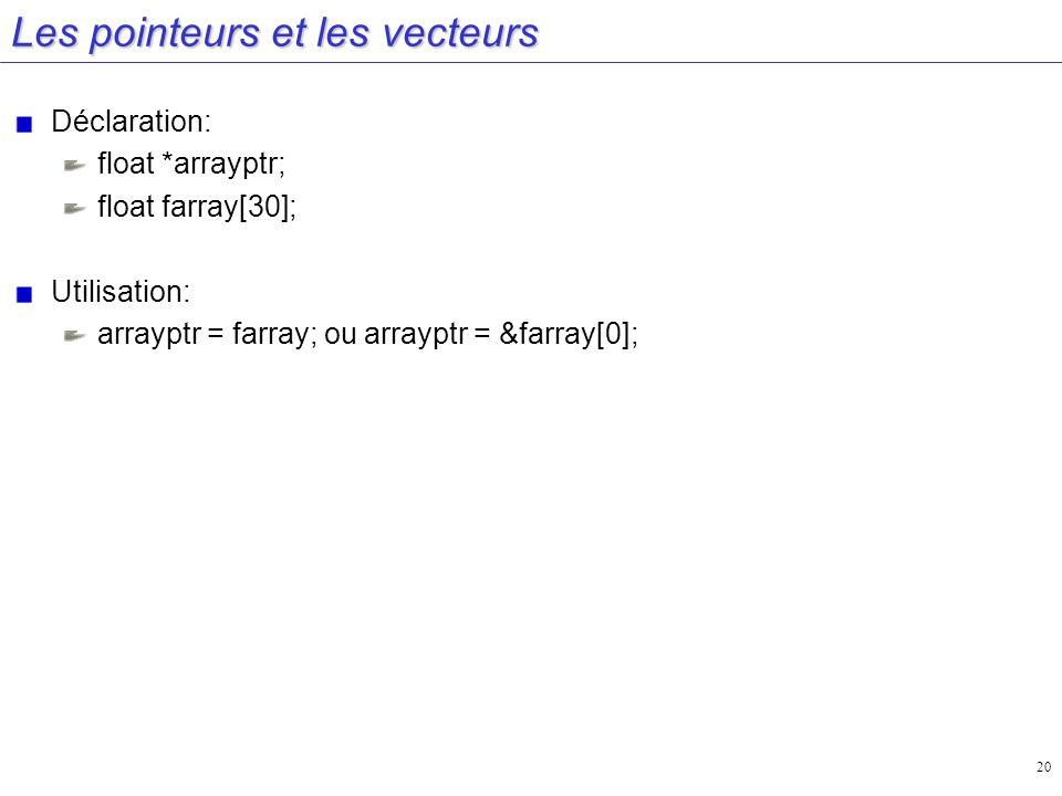 20 Les pointeurs et les vecteurs Déclaration: float *arrayptr; float farray[30]; Utilisation: arrayptr = farray; ou arrayptr = &farray[0];