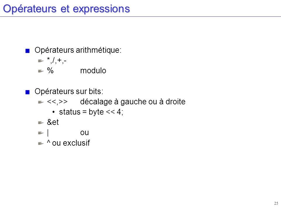 25 Opérateurs et expressions Opérateurs arithmétique: *,/,+,- %modulo Opérateurs sur bits: >décalage à gauche ou à droite status = byte << 4; &et |ou