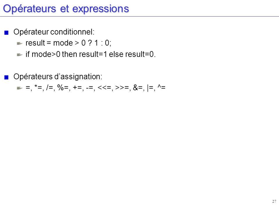 27 Opérateurs et expressions Opérateur conditionnel: result = mode > 0 ? 1 : 0; if mode>0 then result=1 else result=0. Opérateurs dassignation: =, *=,