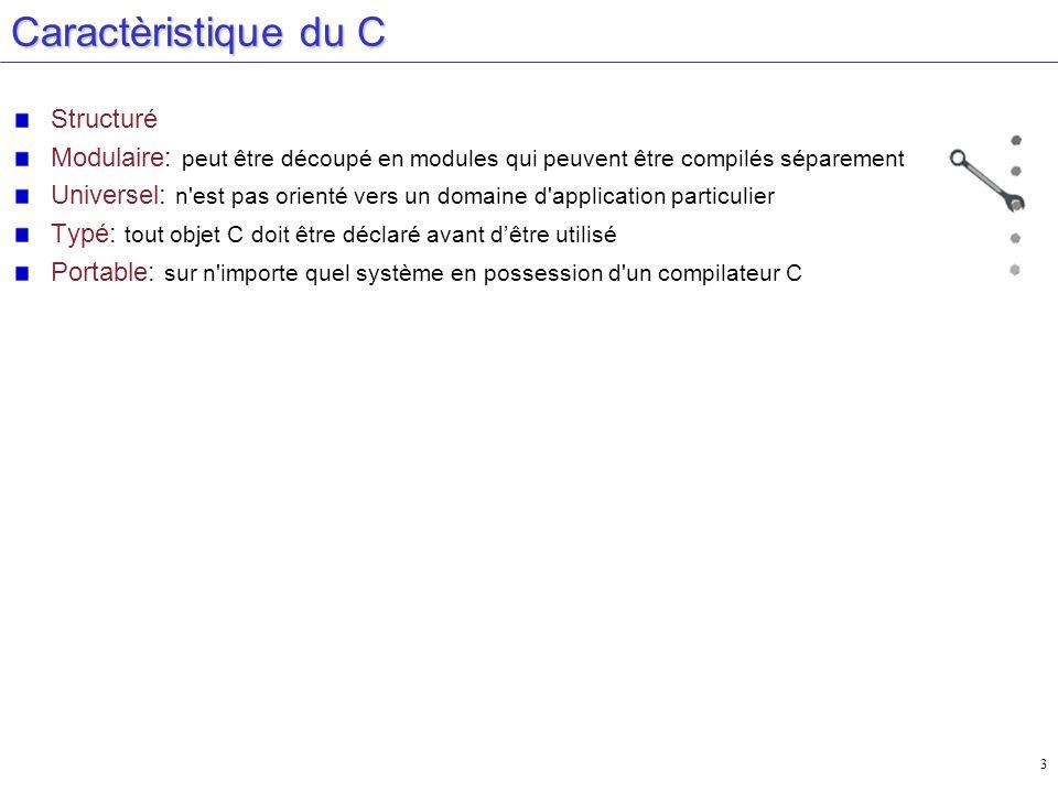 34 Boucle « for » /* Boucle for */ #include #define NUMBER 22 main() { int count, total = 0; for(count =1; count <= NUMBER; count++, total += count) printf(Vive le langage C !!!\n); printf(Le total est %d\n, total); } Initialisation Condition de fin de boucle Incrémentation et autres fonctions