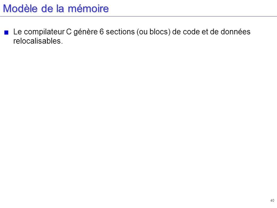 40 Modèle de la mémoire Le compilateur C génère 6 sections (ou blocs) de code et de données relocalisables.