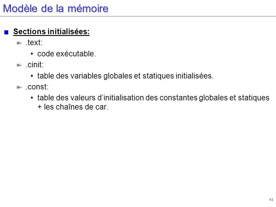 41 Modèle de la mémoire Sections initialisées:.text: code exécutable..cinit: table des variables globales et statiques initialisées..const: table des
