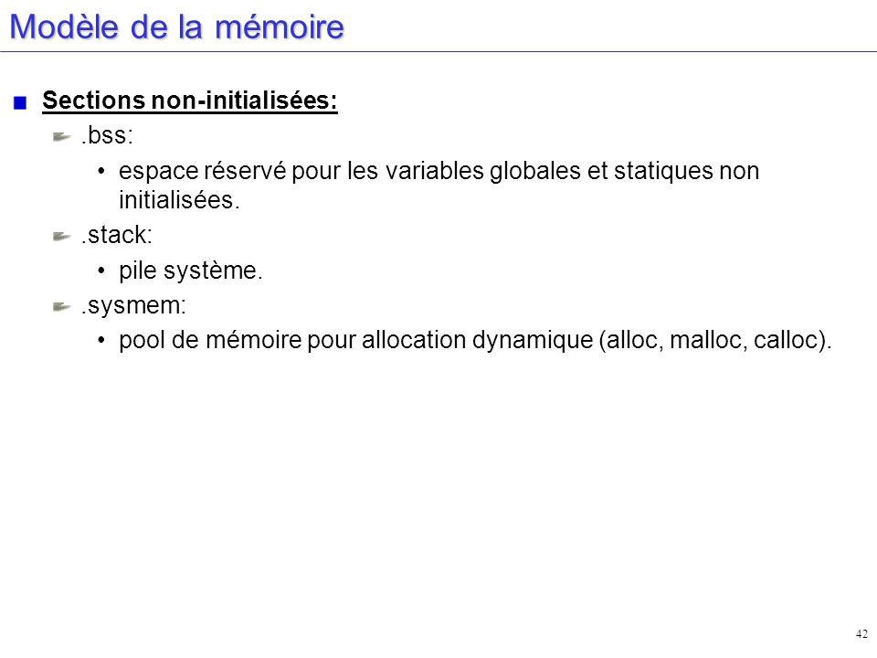 42 Modèle de la mémoire Sections non-initialisées:.bss: espace réservé pour les variables globales et statiques non initialisées..stack: pile système.