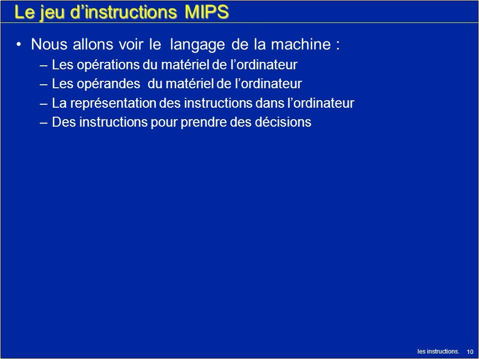 les instructions. 10 Le jeu dinstructions MIPS Nous allons voir le langage de la machine : –Les opérations du matériel de lordinateur –Les opérandes d