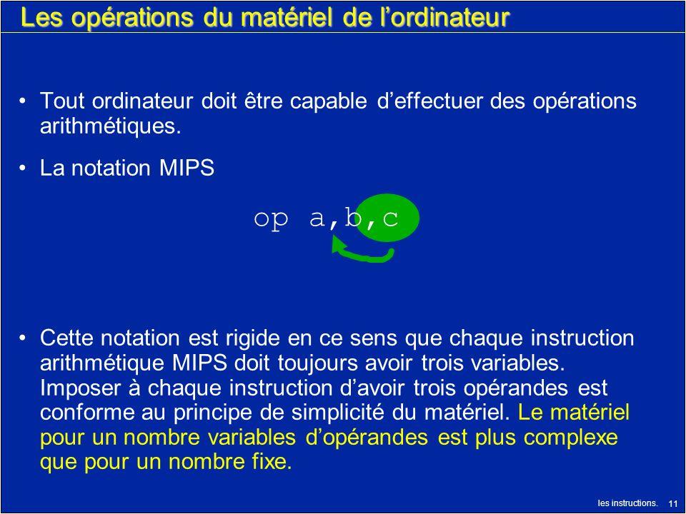 les instructions. 11 Les opérations du matériel de lordinateur Tout ordinateur doit être capable deffectuer des opérations arithmétiques. La notation