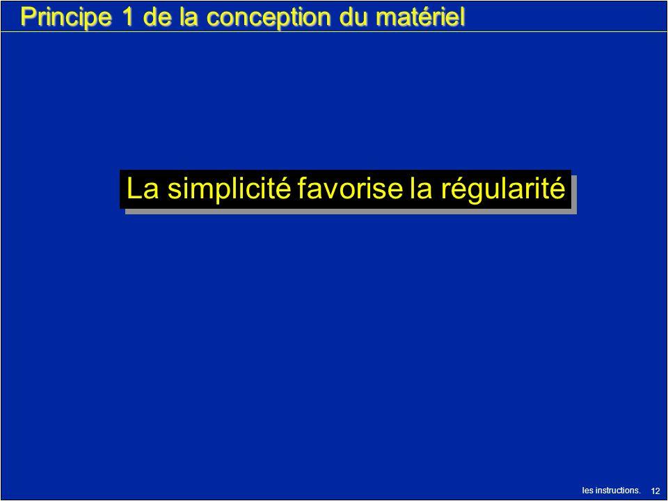 les instructions. 12 Principe 1 de la conception du matériel La simplicité favorise la régularité