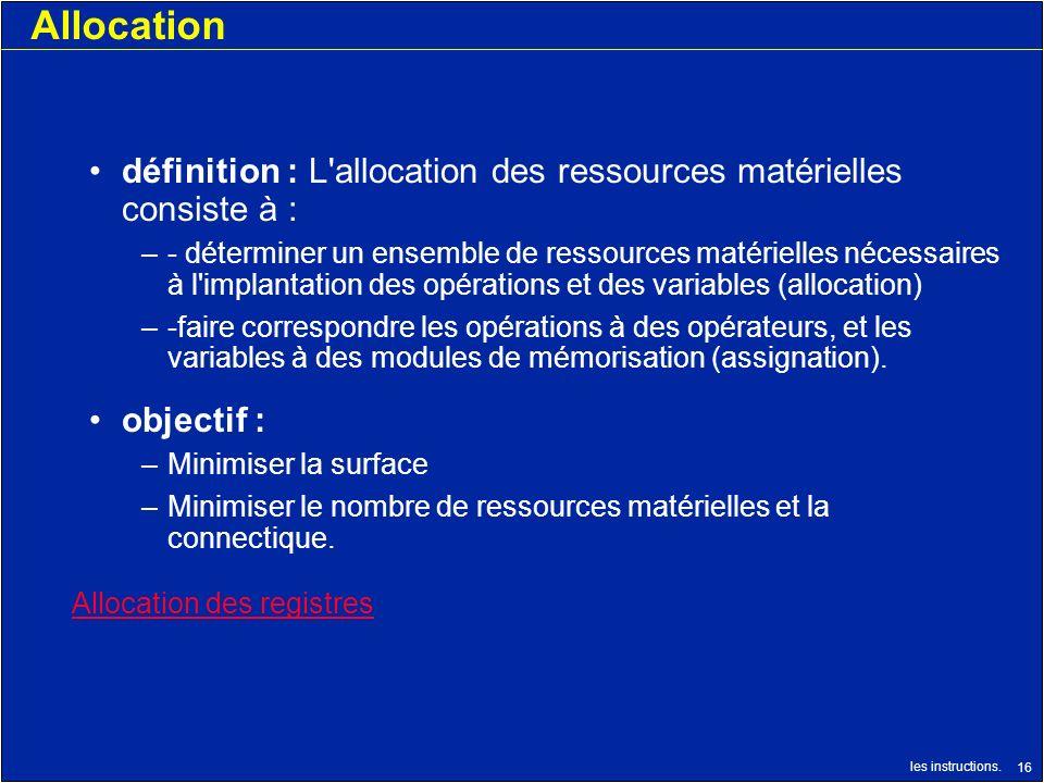 les instructions. 16 Allocation définition : L'allocation des ressources matérielles consiste à : –- déterminer un ensemble de ressources matérielles