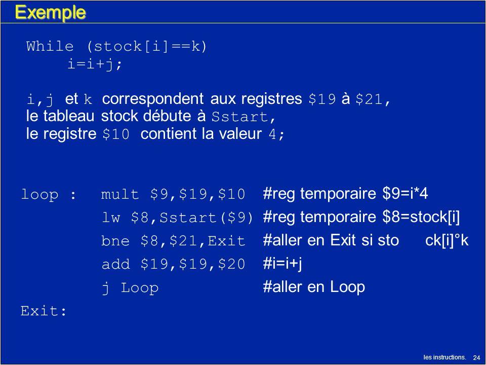 les instructions. 24 Exemple loop :mult $9,$19,$10 #reg temporaire $9=i*4 lw $8,Sstart($9) #reg temporaire $8=stock[i] bne $8,$21,Exit #aller en Exit